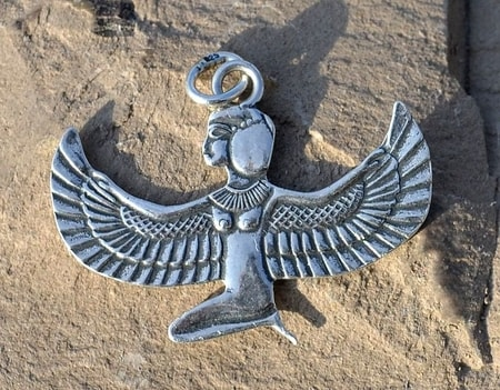 WINGED ISIS, Egyptian Goddess, silver talisman, Ag 925
