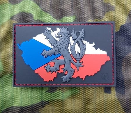 CZECH LION - Flag, rubber patch, black