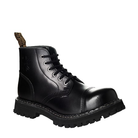 Leather boots STEEL black 6-eyelet-shoes