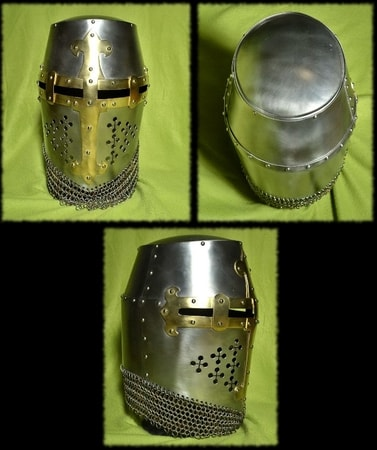 Crusader Great Helm with Chainmail - wulflund com