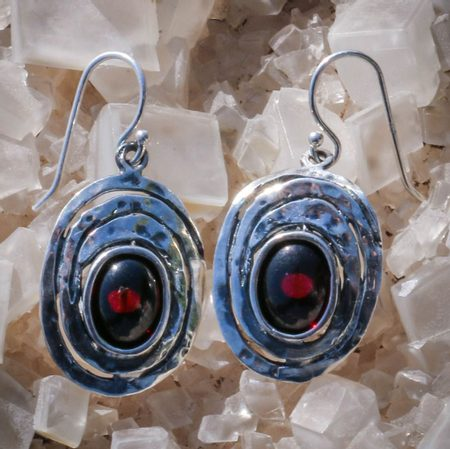 Garnet Silver Earrings Red