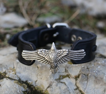 CORVUS, crow, leather bracelet