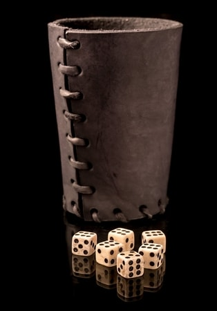 6 BONE DICES AND LEATHER DICE CUP Medieval Ancient
