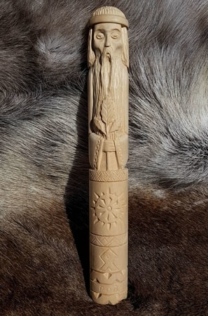 ROD, Slavic God of Fire, carved statue