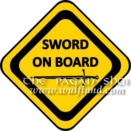 SWORD ON BOARD, STICKER FOR CARS
