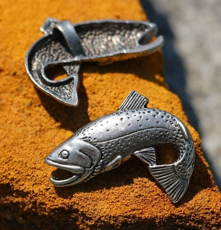 TROUT, FISH, FISHING PENDANT, TIN
