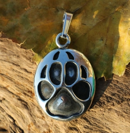 WOLF TRACK, pendant, sterling silver