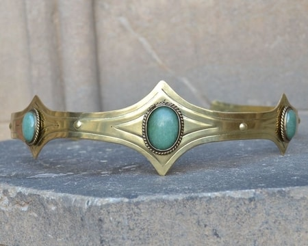 MEDIEVAL GOTHIC CROWN WITH AVENTURINE, 3 STONES