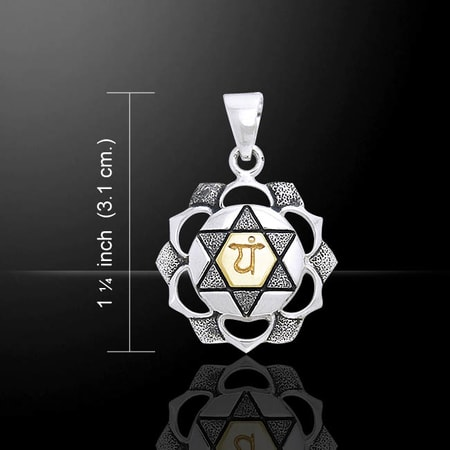 ANAHATA HEART SILVER AND GOLD CHAKRA PENDANT