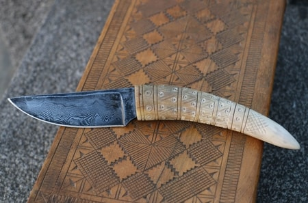 SIGURD, damasteel knife - Vikings - wulflund com