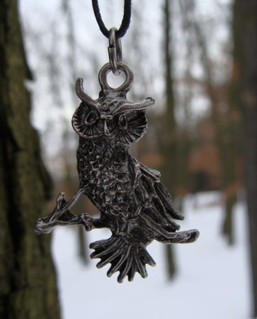 OWL ON BRANCH, pewter pendant