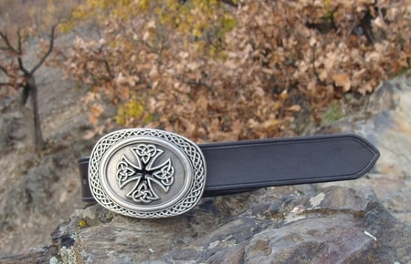 CELTIC CROSS BUCKLE, LEATHER BELT
