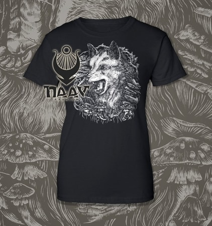 WOLF, women's T-shirt black, Druid collection
