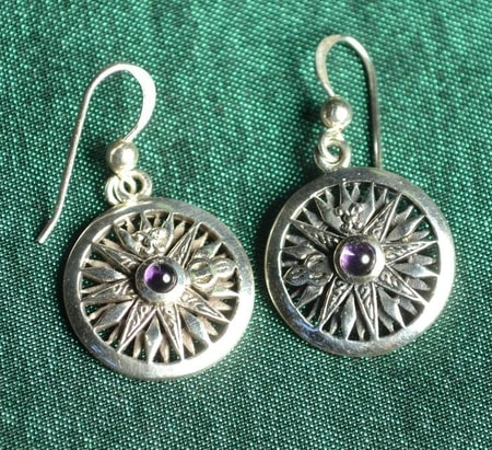 COMPASS, silver earrings with amethyst, Ag 925