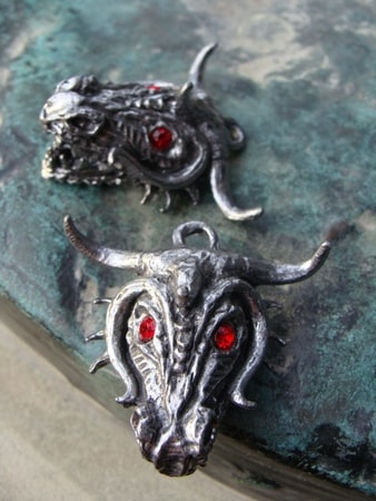 DRAGON, massive pewter pendant