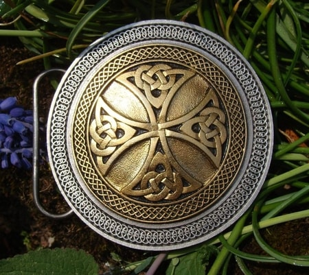 CELTIC CROSS, gold coloured, belt buckle