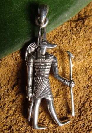 ANUBIS, the Egyptian God, silver pendant