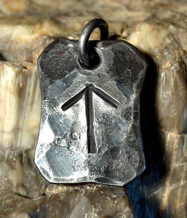 TEIWAZ, FORGED IRON RUNE PENDANT