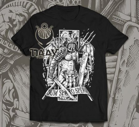 GLADIATOR, MEN'S T-SHIRT BLACK AND WHITE