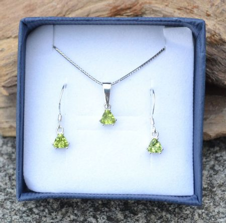 TRIANGULAR - peridot, sterling silver jewellery set