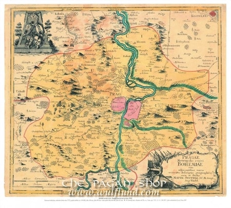 PRAGUE, 1757, MATTHIAS SEUTTER, HISTORICAL MAP, REPLICA
