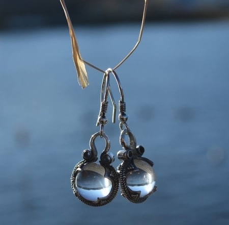GOTLAND CRYSTAL BALL EARRINGS, Ag 925