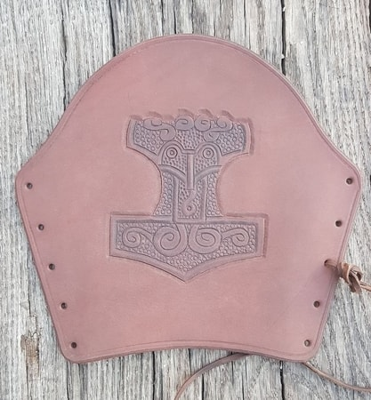 LEATHER BRACER WITH THOR'S HAMMER, brown