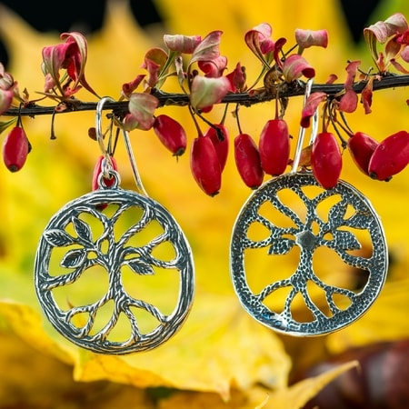 Tree - Arbor, Earrings, silver
