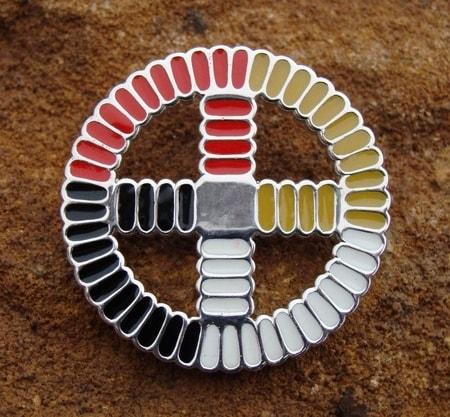 Native American Medicine Wheel, silver pendant - wulflund.com