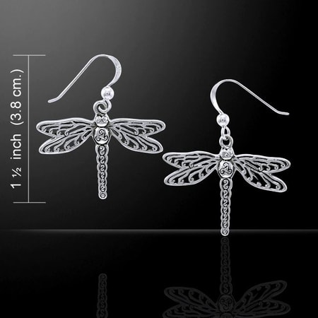 MEGANEURA, dragonfly, sterling silver earrings