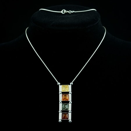 WIOLA, amber, necklace, sterling silver