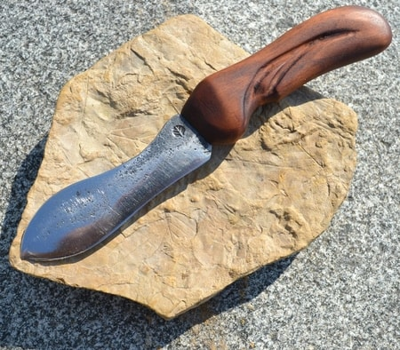 Forged Knife with carved wooden handle