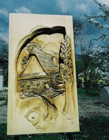 CARPATHIAN WATER MILL, havd carved wall decoration