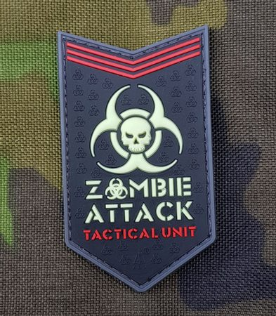 ZOMBIE ATTACK, 3D rubber patch, glow in the dark