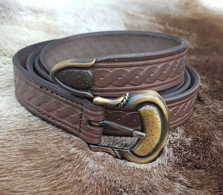 LEATHER BELT WITH SPIRAL, brown