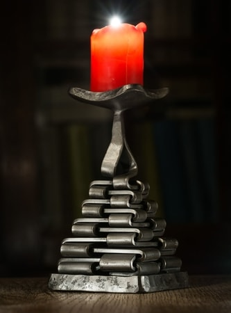 PYRAMIDE, FORGED CANDLESTICK