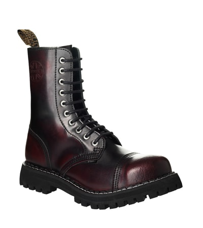 Leather boots STEEL burgundy 10-eyelet-shoes