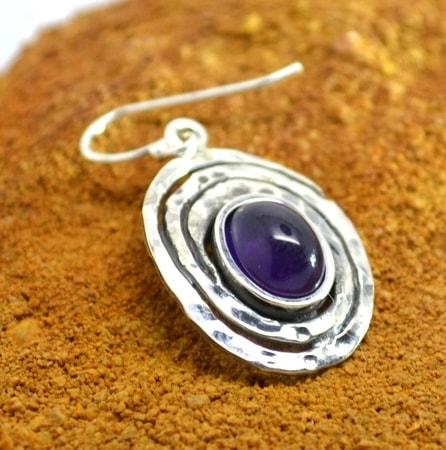 FOREST WELL, sterling silver earrings, amethyst