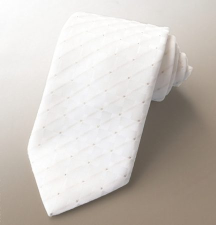 Wedding tie white with gold thread
