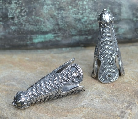 VIKING CAP END, Birka, sterling silver