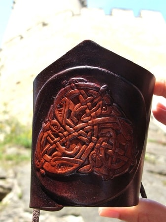 CELTIC ANIMAL TRISKELION, leather wrist band