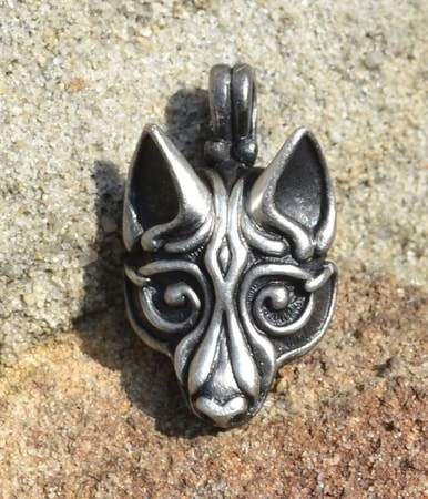 VIKING WOLF HEAD, SILVERED PENDANT BY WULFLUND