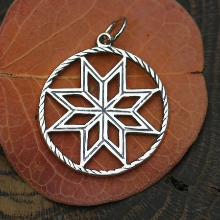 ALATYR - Slavic Star of Rod, silver pendant