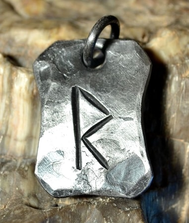 RAIDO, forged iron rune pendant