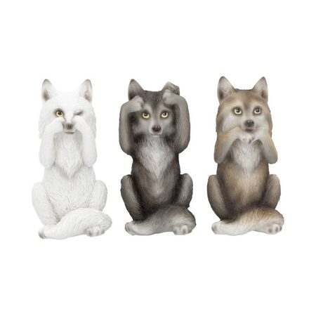 THREE WISE WOLVES, FIGURINES SET