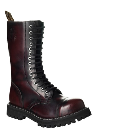 Leather boots STEEL burgundy 15-eyelet-shoes