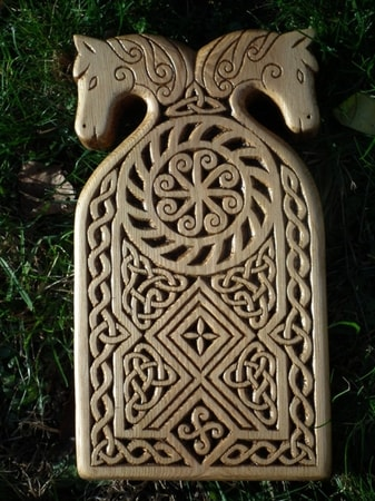 SUN, HEAVENLY HORSES and OTHILA RUNE, Wood Carving