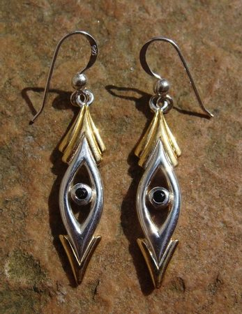 THE EYE, black magic collection, silver earrings, Ag 925