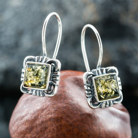VINLAND, silver earrings, Baltic amber