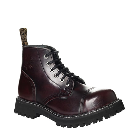 LEATHER BOOTS STEEL BURGUNDY 6-EYELET-SHOES